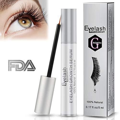 Eyelash Growth Serum, Herwiss Natural Lash & Brow Enhancer Serum, Eye Lash Booster Enhancing Formula for Longer, Thicker Eyelashes and Fuller Eyebrows, FDA Approved - 5ML