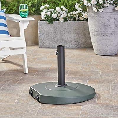 Christopher Knight Home Caiden Outdoor 59.5lb Concrete Circular Umbrella Base with Aluminum Collar, Dark Green