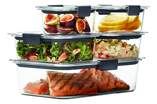 Rubbermaid Brilliance Food Storage Container 10-Piece Set, 100% Leak-Proof, Plastic, Clear