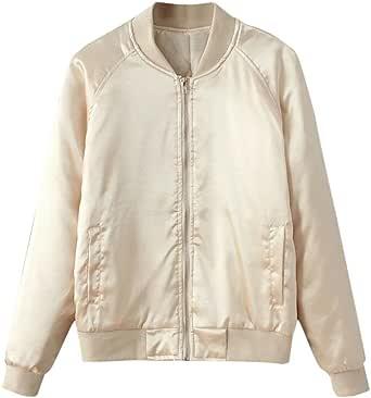 CHARLES RICHARDS Women's Zip Up Stain Look Baseball Collar Bomber Jacket