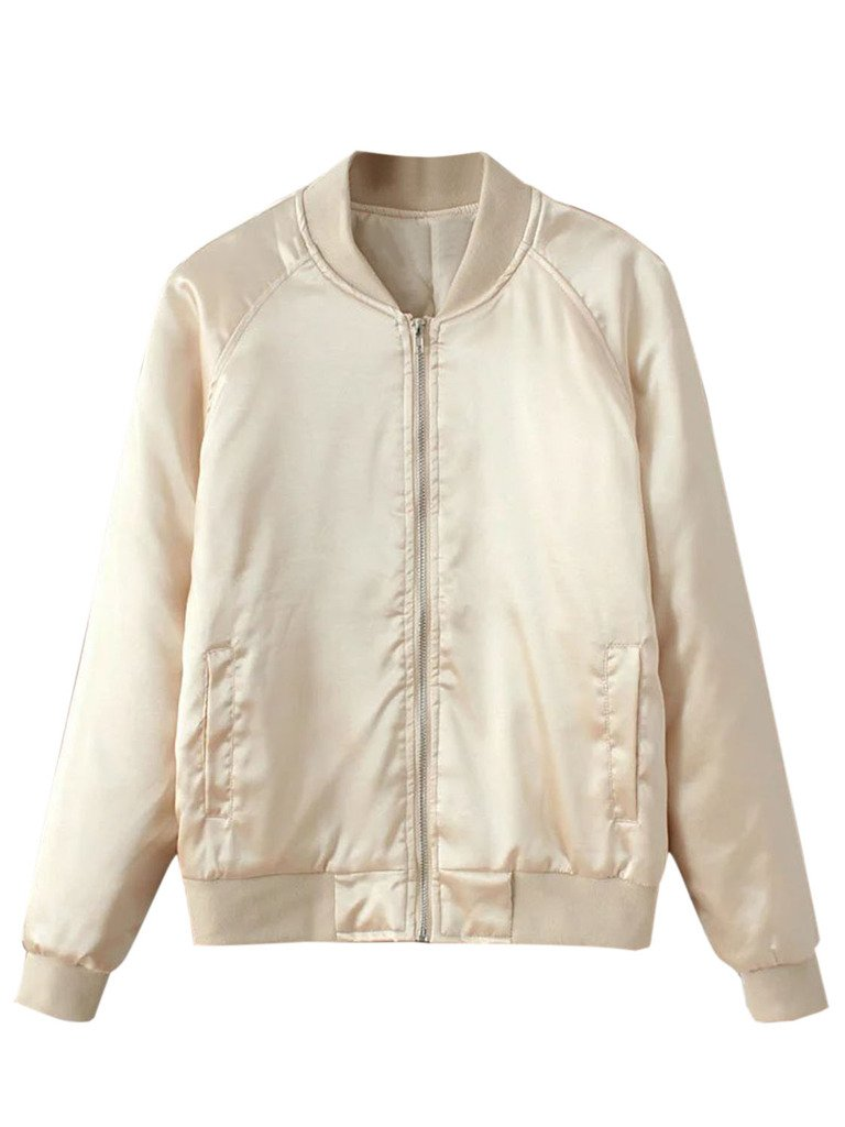 CHARLES RICHARDS Women's Beige Baseball Collar Stain Look Bomber Jacket
