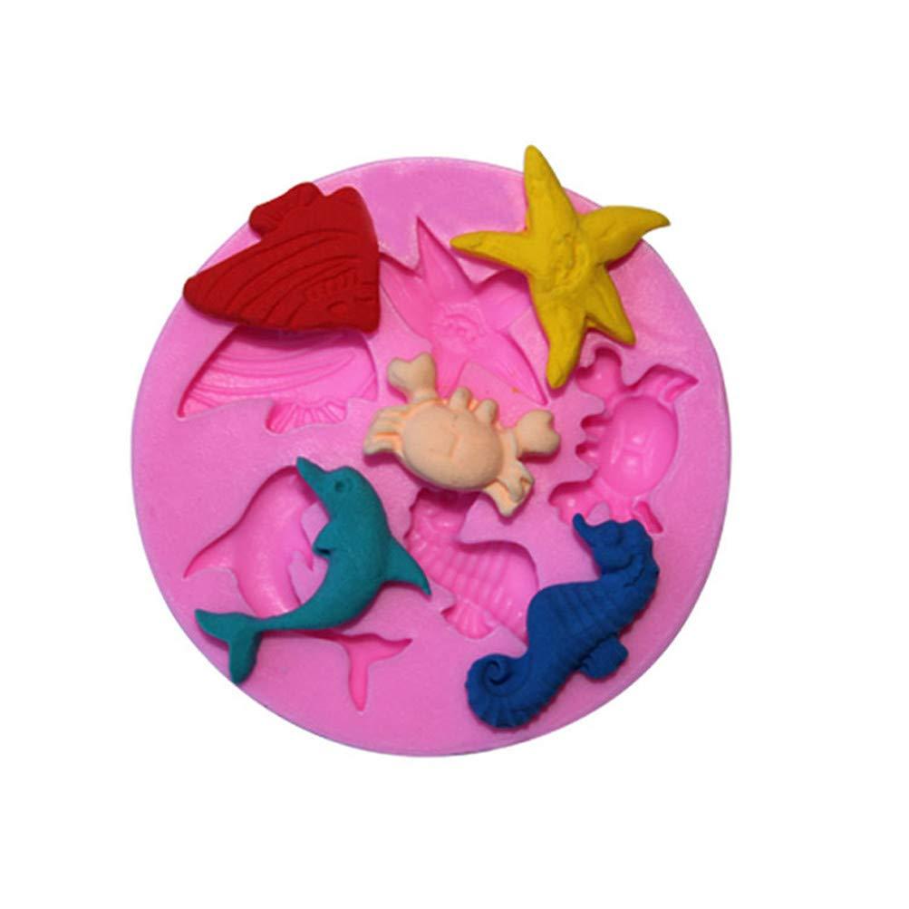Flybloom DIY Dolphin Hippocampus Krabbe Silikonformen Schokolade Fondant Sugarcraft Plätzchenform Kuchen Dekor Backen Werkzeuge Seifenform HeShengFactory