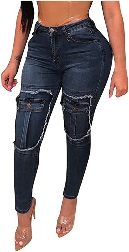 Generic Womens Casual High Waist Ripped Skinny Slim Fit Jeans Distressed Denim Pants