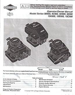 briggs stratton operating maintenance instructions owner s rh amazon com briggs & stratton service manual briggs & stratton service manual pdf