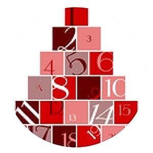alfombrilla de ratón Calendario del advenimiento de la cantidad de árboles rojo / blanco - ronda - 20cm