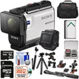 Sony Action Cam HDR-AS300R Wi-Fi HD Video Camera Camcorder & Live View Remote Helmet Mounts + 64GB Card + Battery + Case + Selfie Stick + Tripod Kit