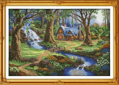 108cm/×75 or 42.12/×29.25 Joy Sunday Cross Stitch Kits The Cabin in The Forest,11CT Counted