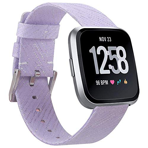 - EZCO Compatible with Fitbit Versa Bands, Woven Fabric Breathable Watch Strap Quick Release Replacement Wristband Accessories Compatible Versa Smart Watch Women Man (Light Purple)