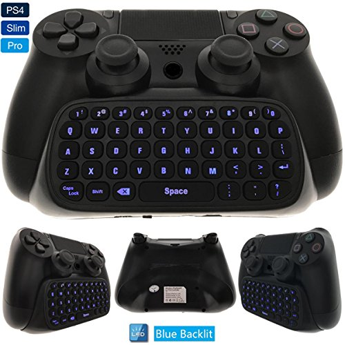 Whiteoak PS4 Keyboard, Wireless Mini Backlit Chatpad, Great KeyPad Adapter for Playstation 4 PS4, Slim, Pro Controller - 2.4GHz Receiver Included ()