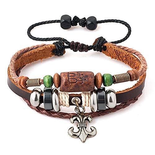 Casa De Novia Jewelry Punk Style Leather Wrap Braided Wristband Cuff Bracelet Linking Elephant Dragonfly Butterfly Fleur-de-lis Key Anchor Charm
