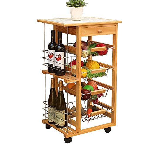 soges Storage Kitchen Cart, Bar Serving Cart Utility Trolley with 3 Metal Baskets & Bottle Rack, Bathroom Rack, Multi-Functional Cart for Kitchen, Living Room and Garden, KS-HY-3106 from soges
