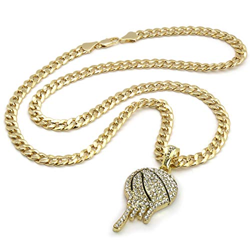abe260196c1 Jewel Town Men's Hip Hop 14k Gold Plated Cz Drip Basketball Pendant Cuban Chain  24