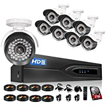TMEZON 1080P HD-TVI + DVR Video Security System 8CH 1080P DVR with 8x HD 1920TVL 2.0 MegaPixels Weatherproof CCTV Camera and 2TB HDD