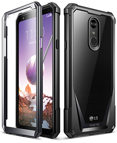 LG Stylo 4 Rugged Case, LG Stylo 4 Plus Rugged Case, Poetic Guardian [Revised Version][Scratch Resistant Back] [Built-in-Screen Protector] Full-Body Rugged Clear Bumper Case (2018) - Black