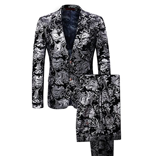 (Cloudstyle Men's Dress Suit Single-Breasted 2 Pieces Slim Fit 2 Buttons Suits Silver)