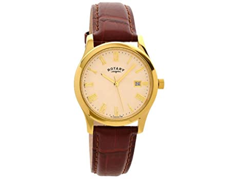 rotary mens gold plated leather strap gsi0794 32 rotary amazon rotary mens gold plated leather strap gsi0794 32