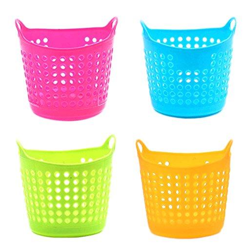 (LAAT 4pcs Potable Plastic Desktop Trash Can Office Desk Organizer Paper Debris Storage Bucket Rubbish Basket Table Dustbin Mini Hanging Garbage Bin)