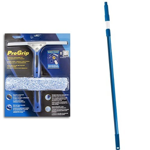 Ettore 65000 Professional Progrip Window Cleaning Kit & Ettore 45000 All Purpose Pole 5-Feet Interlock 2 Section Pole with Click-Lock Tip