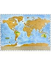NIMAXI Mapa mundial para rascar, tamaño 83x58 cm, color: azul, alto brillo, Carta del mundo XXL con banderas para rascar gratis
