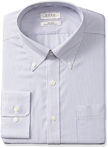 Enro Men's Big and Tall Kramer Stripe Non-Iron Big & Tall Dress Shirt, Navy, 175 x 36/37 ()