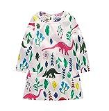 JiaYiYi Girls Dinosaur Casual Dresses Cotton Summer Short Sleeve Skirt Dress for Kids Size 2T-7T (6, White)