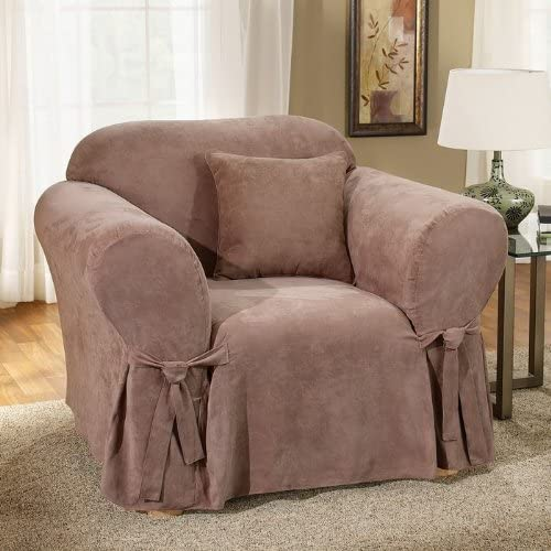 Sure Fit Soft Suede 1-Piece - Chair Slipcover - Sable (SF34542)