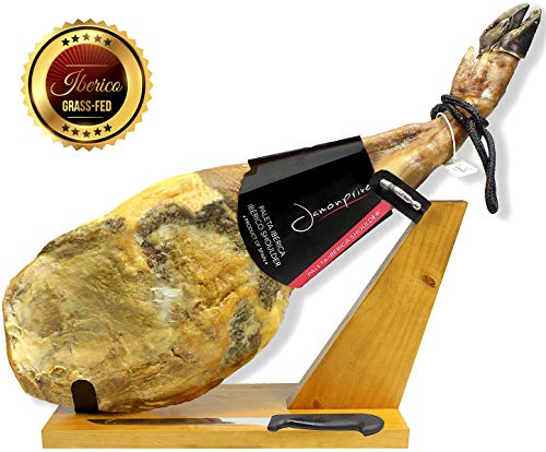 Iberico Ham (shoulder) Grass-fed Bone in from Spain + Ham Stand + Knife - Jamon Iberico Pata Negra All Natural with Mediterranean Sea Salt