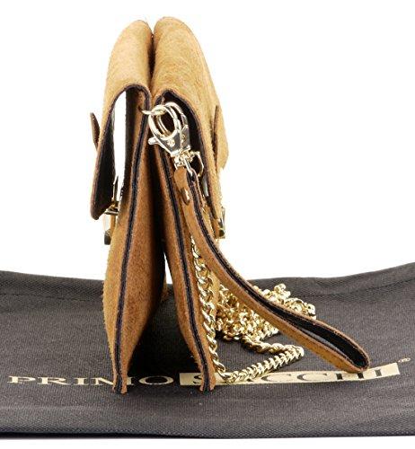 ou Primo main sac Push Tan Ladies 2 épaule Sacchi à sac bandoulière poignet clip leather suede Italian rZPqr4