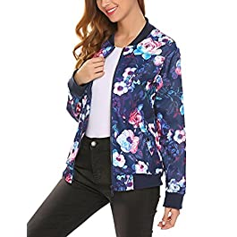 ELOVER Slim Women's Print Blouse Fashion Baseball Coat Zipper Jacket S-XXL