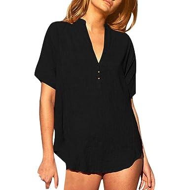 FNKDOR - Camisa de Mujer de Moda sólida de Color Alto Cuello en V ...