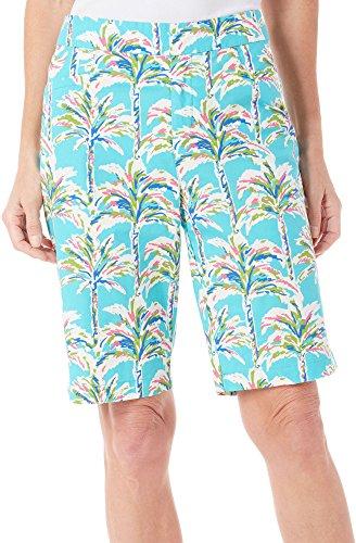 caribbean-joe-womens-plus-size-palm-printed-slant-pocket-short-drift-turquoise-22w