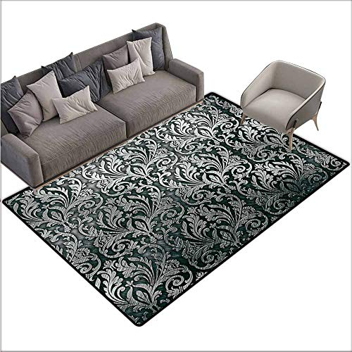 (Bath Rug Silver Graphic with Classic Floral Ornaments Medieval Empire Royal Engraving Style Print Easy to Clean Carpet W70 xL106 Grey Black)