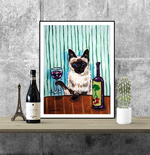 Siamese cat art - wine bar decor - cat wall art - wine gifts - gift for cat lover ()