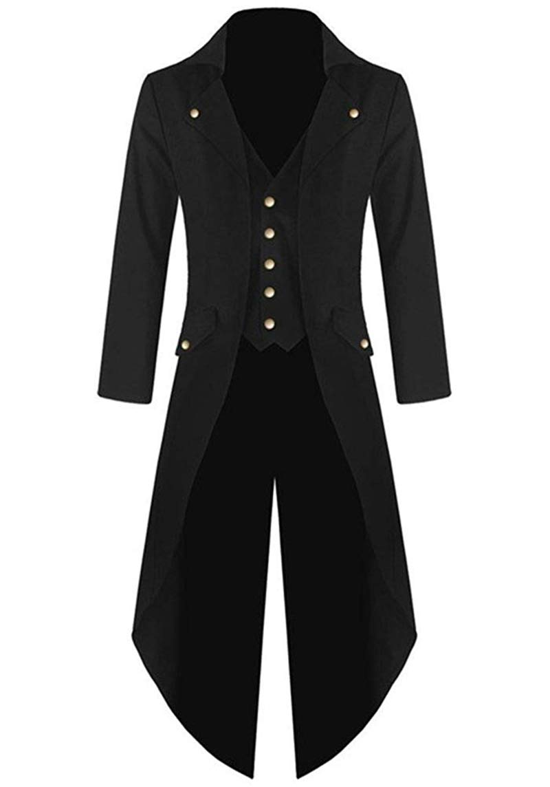 Kids Boys Steampunk Jacket Cosplay Tailcoat Gothic Long Coat with Tails(Five Buttons) (Boys 12, Black)