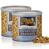 #5: Roasted Peanuts – Shelled - Vacuum Packed for Freshness - By Gold Nut (Unsalted, 2 Pack - 24oz)