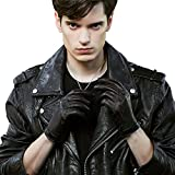 Fioretto 10% OFF Mens Gifts Winter Driving Mens Leather Gloves Full Palm Touchscreen Gloves Italian Genuine Goatskin Leather Mens Gloves Warm Lining with Flame Embroidery Black 10.5