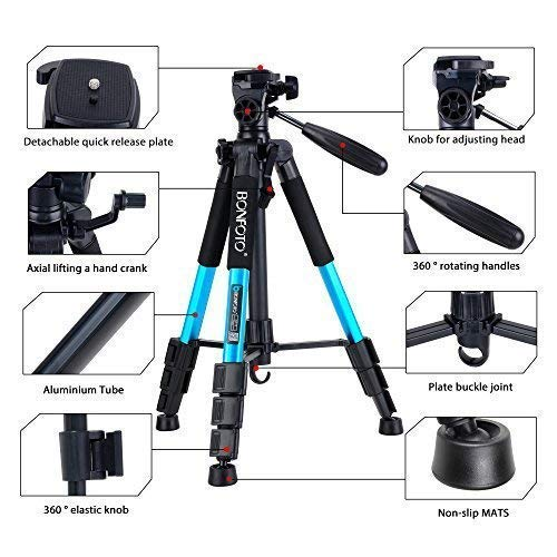 BONFOTO Q111 Portable Pro 55-inch Tripod Compact Lightweight Camera Stand with Phone Holder Mount and Quick Release Pan Head Plate for Smartphones Digital SLR Canon EOS Nikon Sony Samsung(Blue)