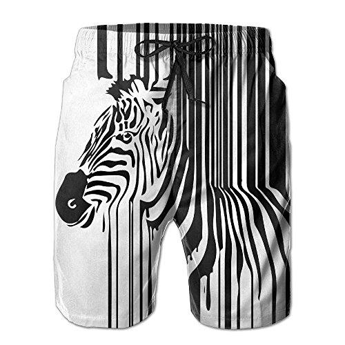 J,CORNER Mens Zebra Bar Code Black White Summer Cool Swim Trunks Beach Shorts Board Shorts ()