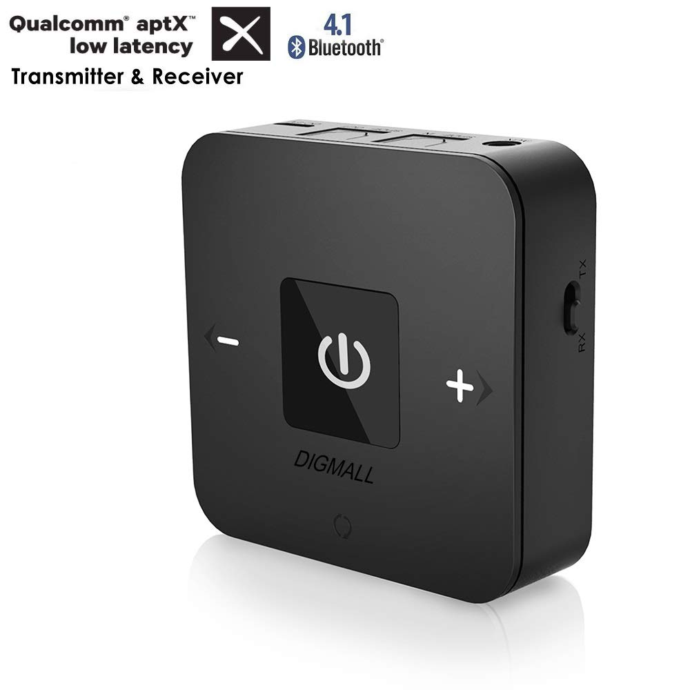 DIGMALL aptX Low Latency Bluetooth V4.1 Transmitter and Receiver 2-in-1 with Digital Optical and 3.5MM Aux, Wireless Audio Adapter for TV Home Headphones Speakers Car Stereo, NO Delay, Dual Stream Shumao BTI-038