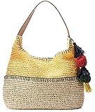 Womens Pom Pom & Tassel Colorblock Hobo Beach Travel Bag (Yellow)