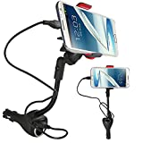 Alpatronix MX101 Universal Car Cradle Dock Station / Mount / Adapter with 2 USB Rapid Chargers / Power Outlet and 360° Degree Rotating Gooseneck Holder for Apple iPhone 6, 6 Plus, 5S, 5C, 5, 4S, 4 / Samsung Galaxy S5, S4, S3, S2, Note 4, Note 3, Note 2 / iPod Touch, Classic, Nano, Mini, Shuffle / Other Android Smartphones - HTC One, Google Nexus, LG, Nokia, Blackberry, Sony, Motorola Droid, MP3/MP4 Players and Other Electronic Devices - (Black)