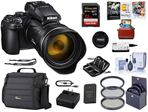 Nikon COOLPIX P1000 Digital Point & Shoot Camera (Black), Bundle Kit with Camera Case + 32GB SD Card + 77mm Filter Kit + Cleaning Kit + Card Reader + Memory Wallet + Mac Software Package
