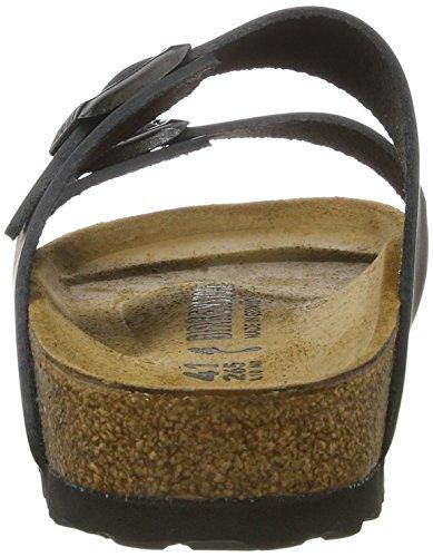 Birkenstock Classic Arizona Leder, Unisex-Erwachsene Pantoletten, Schwarz (Schwarz), 42 EU
