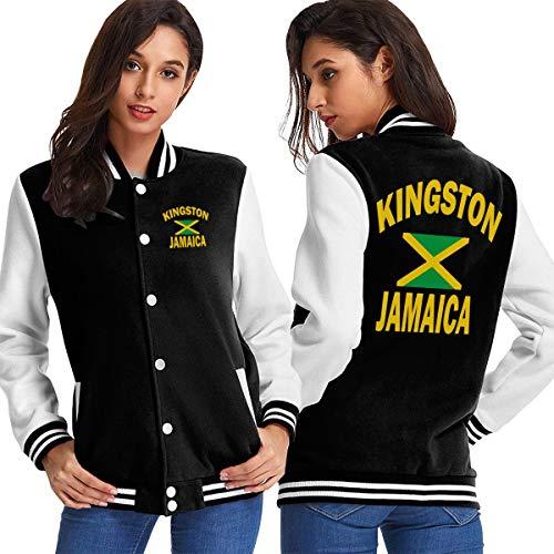 Kingston Jamaica Flag Women's Long Sleeve Baseball Jacket Sweater Coat Black ()
