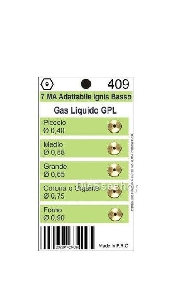 Kit de 5 buses de gaz GPL 7 MA pour plaque de cuisson Fratelli Onofri universelles