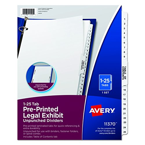 Avery Premium Collated Legal Exhibit Divider Set, Avery Style, 1-25 and Table of Contents, Side Tab, 8.5 x 11 Inches, 1 Set (11370), White