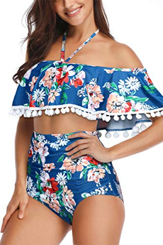 Heat Move Women Retro Flounce Tassel Off Shoulder High Waisted Bikini Halter Neck Crop Two Piece Swimsuit (Navy Printed,XXL) ()