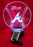 Atlanta Beautiful Handmade Acrylic Personalized Braves MLB Baseball Light Up Light Lamp LED Table Lamp, Our Newest Feature - It's WOW, With Remote, 16 Color Options, Dimmer, Free Engraved, Great Gift