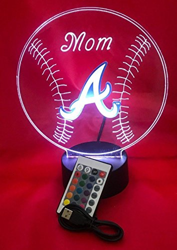 - Atlanta Beautiful Handmade Acrylic Personalized Braves MLB Baseball Light Up Light Lamp LED Table Lamp, Our Newest Feature - It's Wow, with Remote, 16 Color Options, Dimmer, Free Engraved, Great Gift