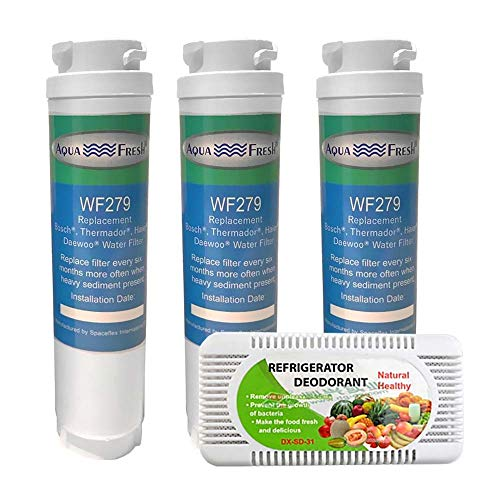 Aqua Fresh Replacement Water Filter For Bosch 9000-077-104 Refrigerator and Odor Remover Combo